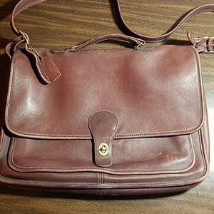 Coach vintage burgundy leather briefcase tote bag